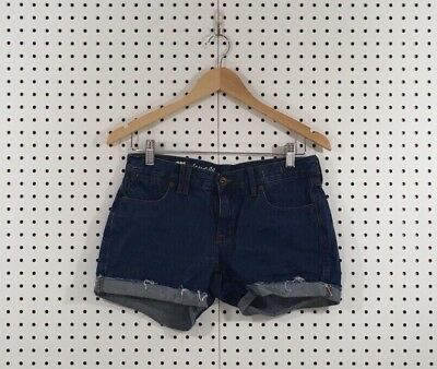 Madewell Women's Blue Medium Wash Cuffed Frayed Denim Shorts - Sz 26