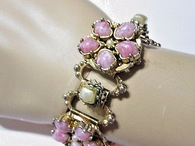 Pretty Pink White Marbled Mauve Stone Faux Pearl Book Chain Bracelet Vintage