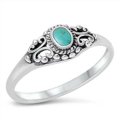 Women's Vintage Turquoise Classic Ring .925 Sterling Silver Band Sizes 4-10 NEW