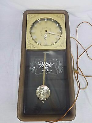 Miller High Life 1983 Beer Bar Girl Pendulum Wall Clock Advertisement Works