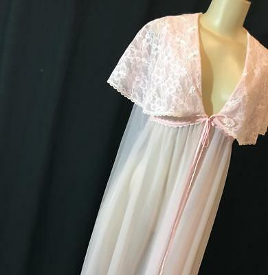 Frederick's of Hollywood Pink Double Chiffon Negligee, M # 010813