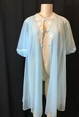 Kayser Blue Double Chiffon Negligee Vintage Size S # 010809