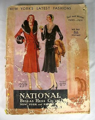 1930 - 1931 National Bellas Hess; New Yorks latest fashions catalog; advertising