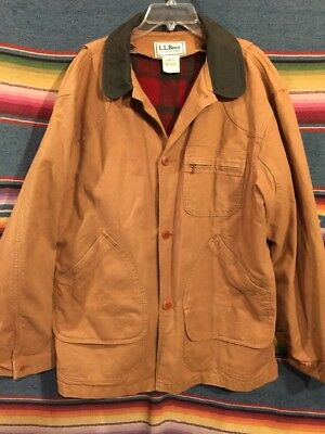 Vintage L.L. Bean Wool Lined Canvas Barn / Chore Jacket Size L Made In USA