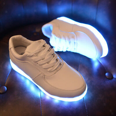 New Men Women LED Light Shoes Casual Lace up USB Charge Luminous Sneakers Shoes