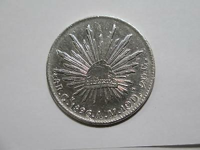 Mexico 1896 Cn Am 8 Reales Cap & Rays Type Silver Old World Coin Collection Lot