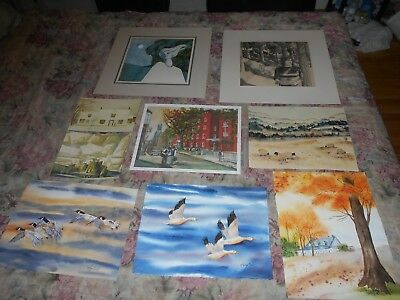 Lot of Watercolours, Drawing, Photolithograph includes A J Casson