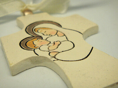 Poly Hanging Cross with Holy Mother and Child design for Christening & Baptism