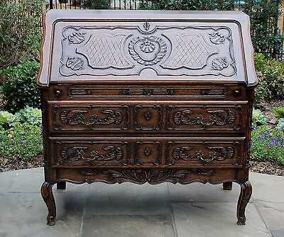 Antique French Louis XV Oak Fall Front Writing Desk Bureau Secretary Bookcase
