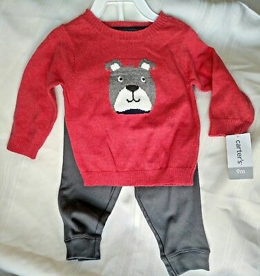 NWT- Carter's Baby Boy Size 9 month Bulldog Sweater and Pants 2 piece Outfit