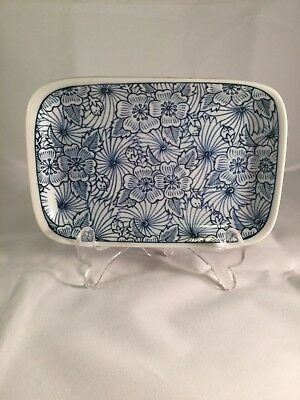 Small Rectangular White And Blue Porcelain Dish Made In Japan