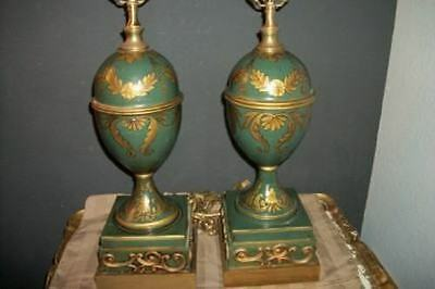 Hollywood Regency French Green Italian Tole Lamps Hand Painted Gilt Gesso Pair