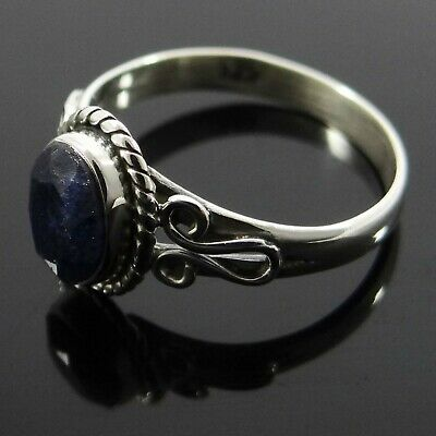 Sapphire Stone 925 Sterling Silver Ring Indian Women Jewellery Gift
