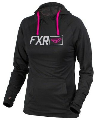 FXR Dash Tech Womens Pullover Hoody Black/Wineberry Purple/White