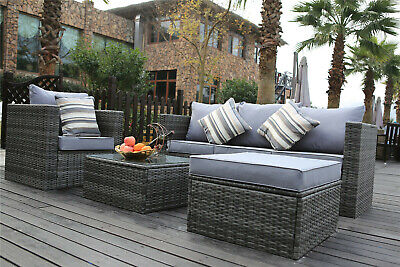 Rattan Garden Furniture Set 5 Seater Corner Sofa Set Patio Conservatory Brown