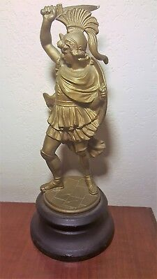 19thC Antique VICTORIAN Era SPARTAN WARRIOR Old ROMAN SWORD SHIELD Parlor STATUE