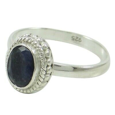 Marked 925 Sterling Silver Indian Fashion Jewelry Sapphire Gemstone Ring SZ 6
