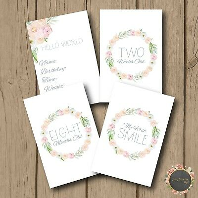 "Floral Wreath Boho Leaf Pink Girl Baby Moments Milestones Cards 4×6"" Photo prop"
