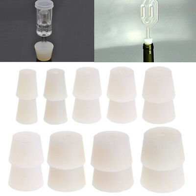 2 Pcs Silicone Plug Rubber Stopper With Hole Airlock Valve Bubbler Wine Brew