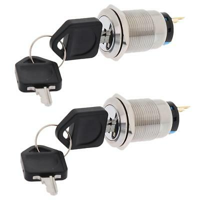 2x Stainless Steel Ignition Key Push Button Switch 19mm For Car Auto Boat