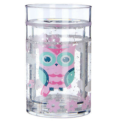 Children Pre School Happy Owl Kids Glitter Shaker Girls Boys Fun Drinking Cup