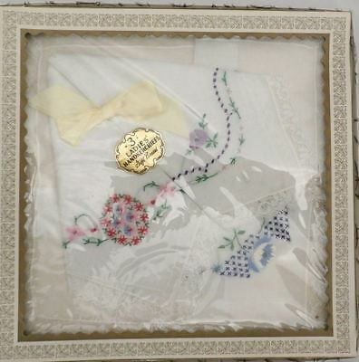 Vintage Handkerchiefs Hanky In Box 3 1950s Colors on White Embroidered