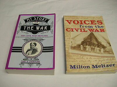 2 Books: CIVIL WAR MEMOIRS Mary Livermore, VOICES Of CIVIL WAR by Milton Meltzer