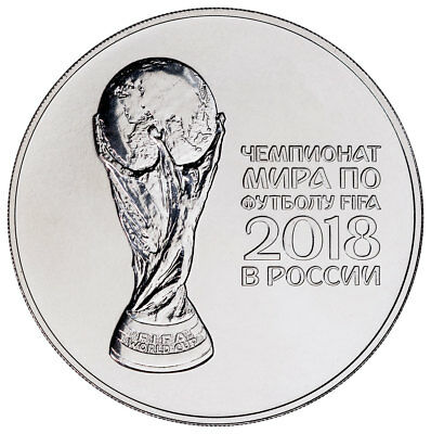 2018 Russia FIFA World Cup 1 oz Silver 3 Ruble Coin GEM BU SKU51681