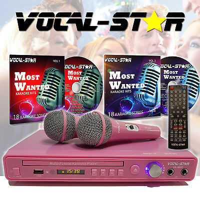 Vocal-Star Pink VS-400 DVD CDG MP3 Karaoke Machine Player 2 Microphones & Songs