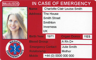 MedicSOS / Medic SOS ICE Card (Medical Alert / Emergency Information )