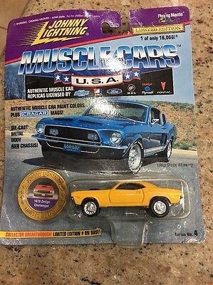 1970 Dodge Challenger Johnny Lightning Diecast Yellow Limited Edition Christmas