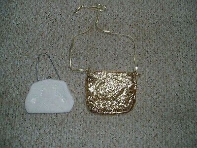 2 Vintage evening bags ( purses) : white beaded & Whiting & Davis gold metallic