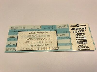 Rare Harry Connick Jr Unused Concert Ticket 3/24/92 Paramount Nyc