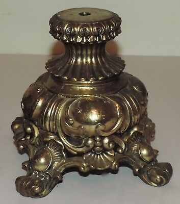 Pair Vintage Heavy Ornate Cast Metal Footed Pedestal Lamp Base Parts Gold-Brass