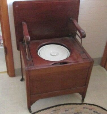 Antique Chamber Pot Potty Chair Early 1800s-185o FANCY on wheels Wooden Toilet