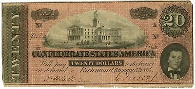 February 1864 The Confederate States of America $20 Richmond 7th Issue Banknote