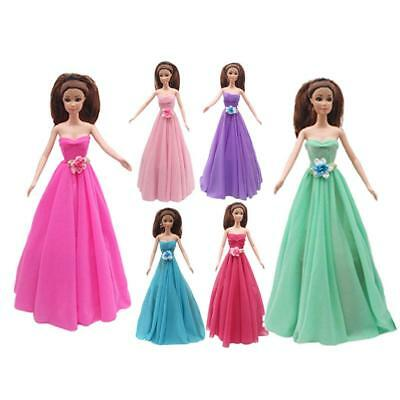 6pcs Fashion Princess Party Dress Party Gown Evening Clothes For Barbie Doll