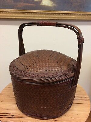 Vintage 1850's Asian Chinese Basket with Lid Extremely Beautiful