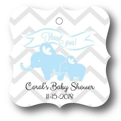 24 Blue Elephant Baby Boy Shower Favor Tag Personalized 749