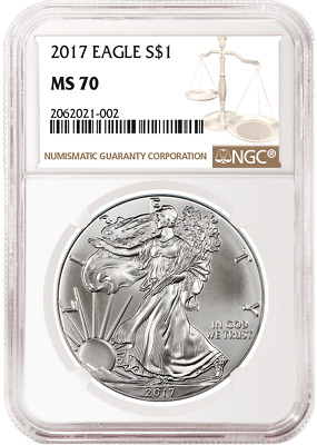 2017 1oz Silver American Eagle NGC MS70 - Brown Label