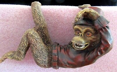 Resin Hanging Monkeys, Set of 3.  Brown w/ Red Jackets Hats