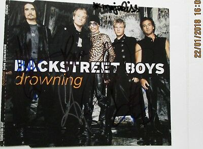 """Backstreet Boys """"Drowning"""" original Autogramme in Person auf Maxi-CD Cover"""