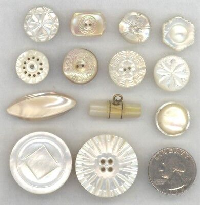 13 Vintage White Pearl Shell Buttons: Carved, Etched, Stud