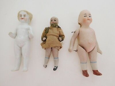 Antique Lot of 3 German Small All Bisque Dolls Fixers