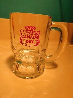 Vintage Canada Dry Drinking beer heavy glass mug pyro red label