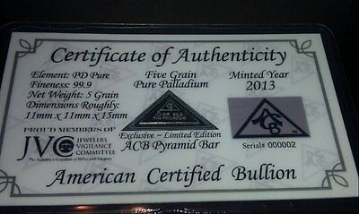 ACB Palladium Pyramid 5GRAIN BULLION MINTED BAR 99.9 Pure Pd WITH Certificate #