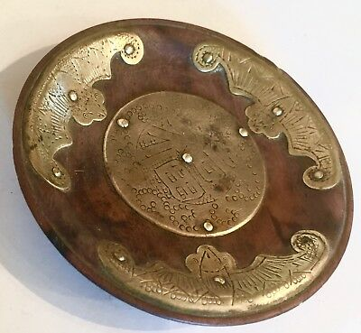 Vintage Chinese Wood & Brass Incense  Plate Dish