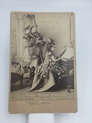 ca1880s AMERICAN INDIAN PRINCESS Musical Wonder WHITE DOVE CABINET CARD PHOTO