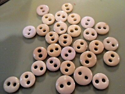 Antique Vintage China 2-Hole Underwear Buttons. 1800's Ceramic Buttons Lot of 30