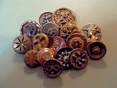Antique Vintage Metal Picture Button Lot...Victorian Lot of 15 Quality Buttons
